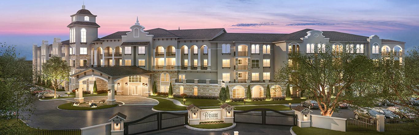 Sunset photo of the Independent Living apartments at Wilshire by Abby Senior Living